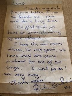 ミュージシャンからの手紙